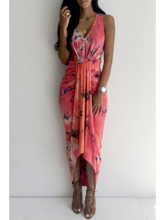buy V Neck Tie Dye Ruffle Sleevelesss Dress - RED S
