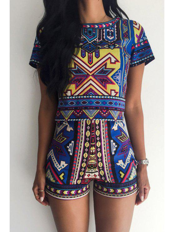 shops Colorful Geometric Print Short Sleeve T-Shirt + Shorts - BLUE S