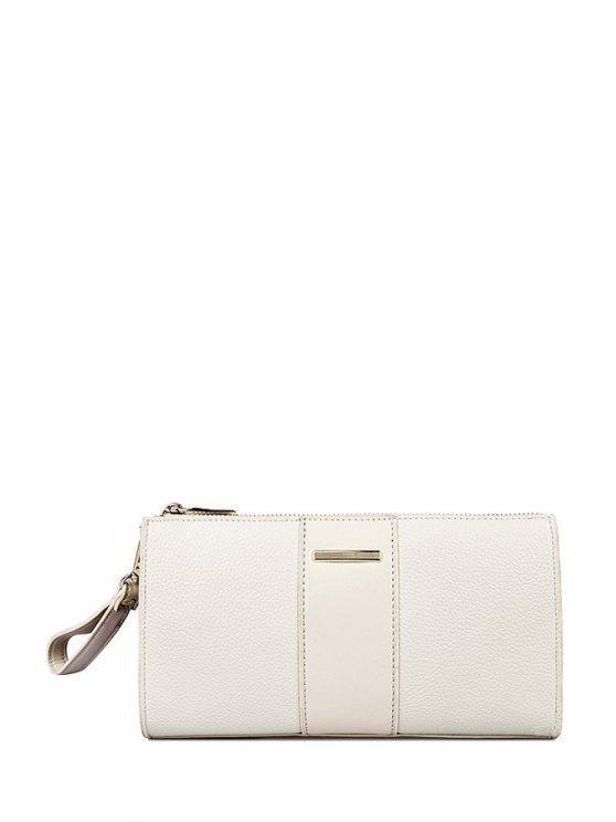 shops Solid Color Metal Zipper Clutch Bag - OFF-WHITE