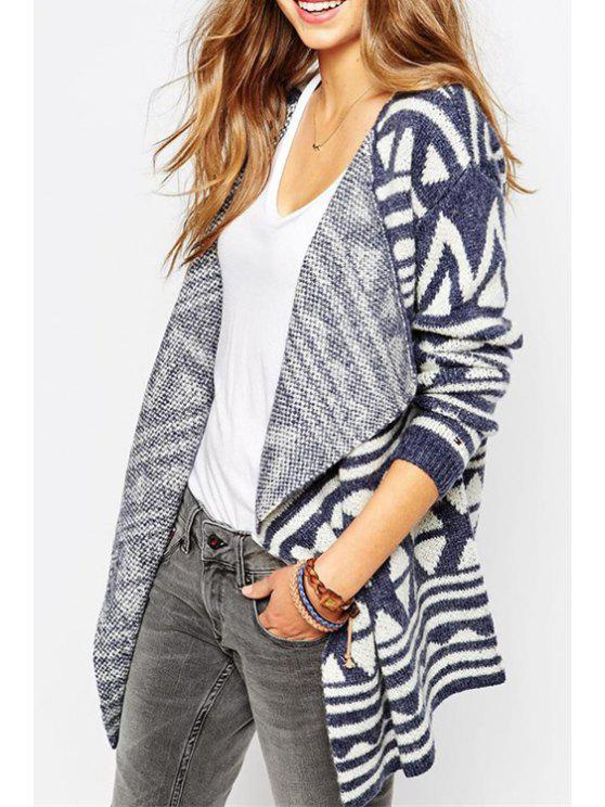 women's Geometric Pattern Angle Front Cardigan - BLUE ONE SIZE(FIT SIZE XS TO M)