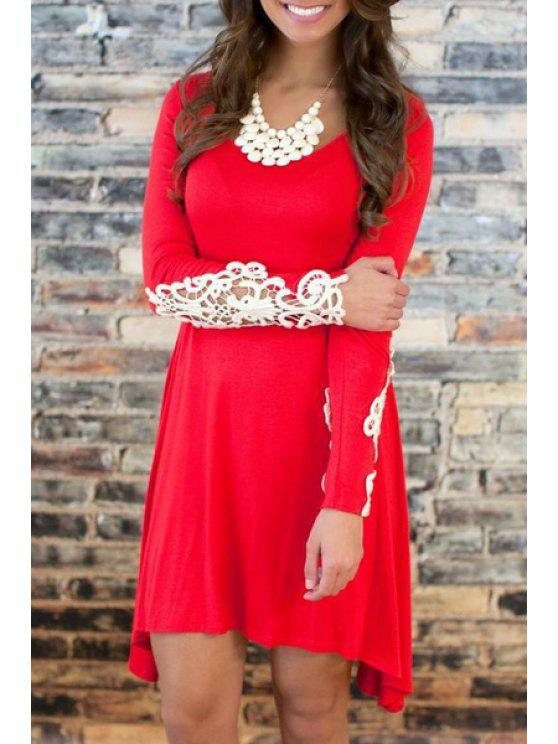 sale Scoop Neck White Lace Splicing Long Sleeve Dress - RED S