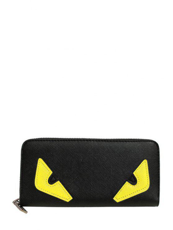 unique Color Block Zipper PU Leather Wallet - YELLOW