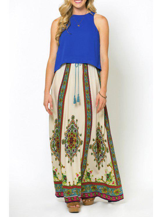 fancy Vintage Print Drawstring Skirt - WHITE S