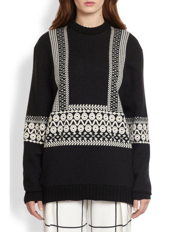 womens Geometric Pattern Long Sweater - BLACK ONE SIZE(FIT SIZE XS TO M)