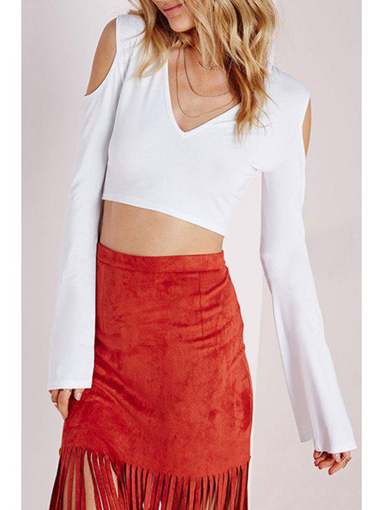 fancy Long Flare Sleeve Cut Out Crop Top - WHITE S