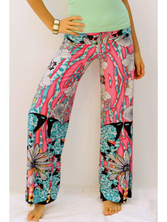 shop Butterfly Print Elastic Waisted Exumas Pants - RED XL