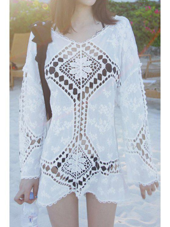 buy Argyle Openwork Long Sleeve Blouse - WHITE ONE SIZE(FIT SIZE XS TO M)
