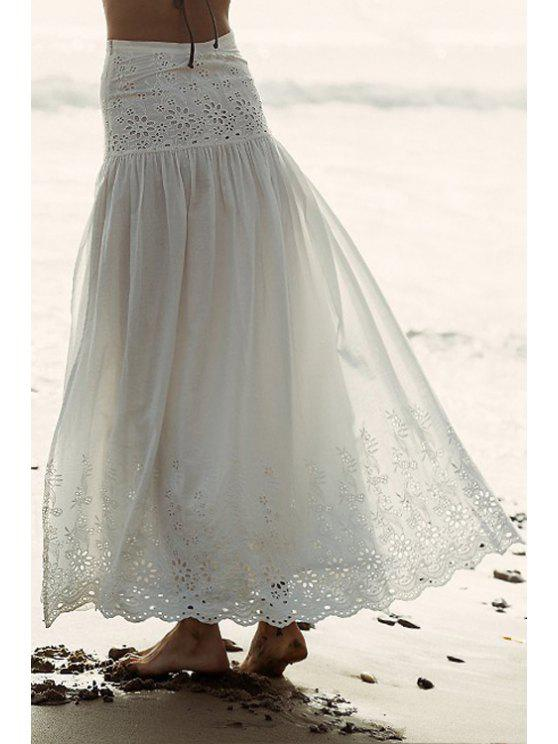 fancy Floral Pattern Openwork Long Skirt - WHITE S