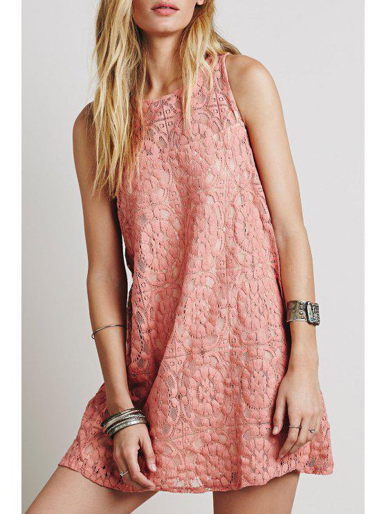 shops Openwork Lace Hook Pink Sundress - PINK M