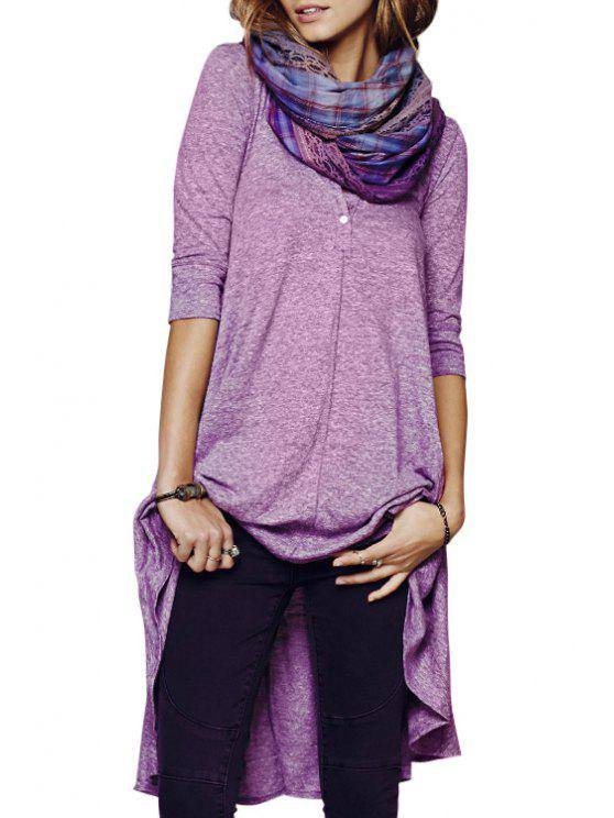 new Solid Color Loose-Fitting Half Sleeve Dress - PURPLE S