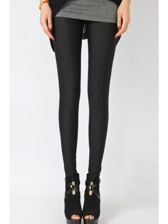 buy Candy Color Elastic Leggings - BLACK M