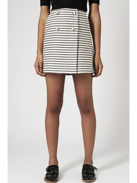 sale Button Pocket Design Mini Stripe Skirt - WHITE AND BLACK S