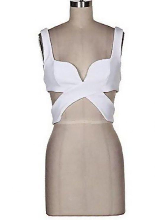 women's Solid Color Sleeveless Cross Crop Top - WHITE S