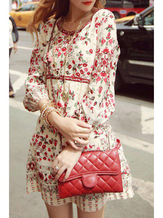 lady Red Tiny Floral Print Long Sleeve Dress - WHITE S