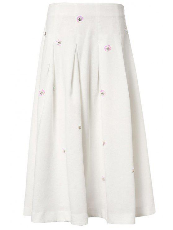 shop High-Waisted Floral Beaded Midi Skirt - WHITE XS