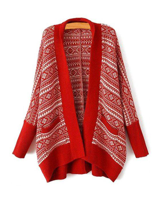 50a6f5ad6b2c0 online Turn-Down Collar Argyle Pattern Long Sleeve Cardigan - RED ONE SIZE( FIT