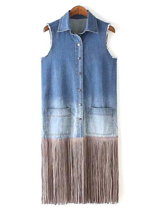 women's Bleach Wash Tassel Splicing Sleeveless Waistcoat - BLUE L