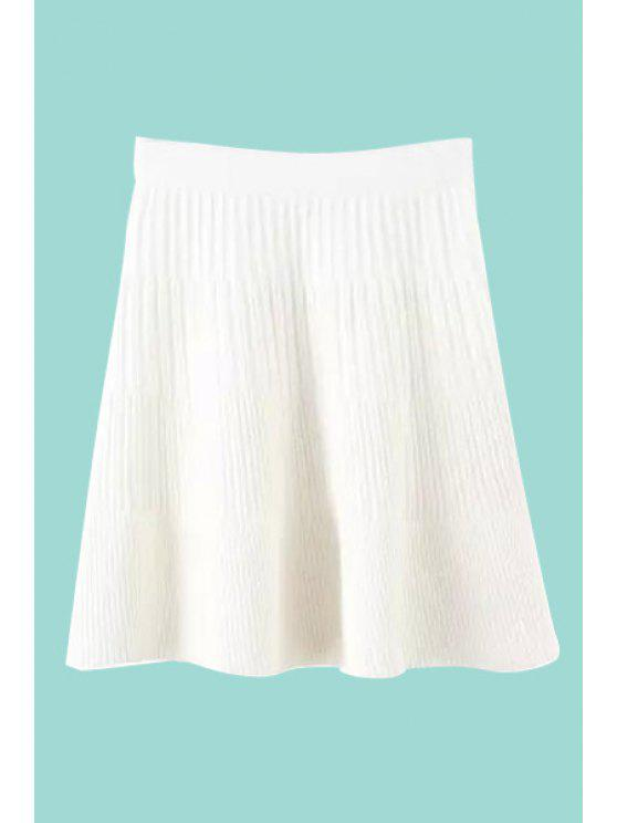 womens Solid Color Stripe Skirt - WHITE ONE SIZE(FIT SIZE XS TO M)