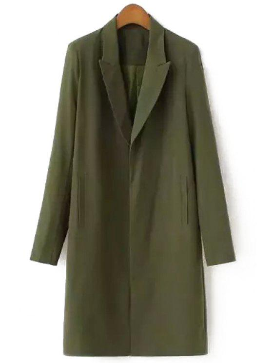 womens Lapel Solid Color Pocket Long Sleeve Blazer - ARMY GREEN S