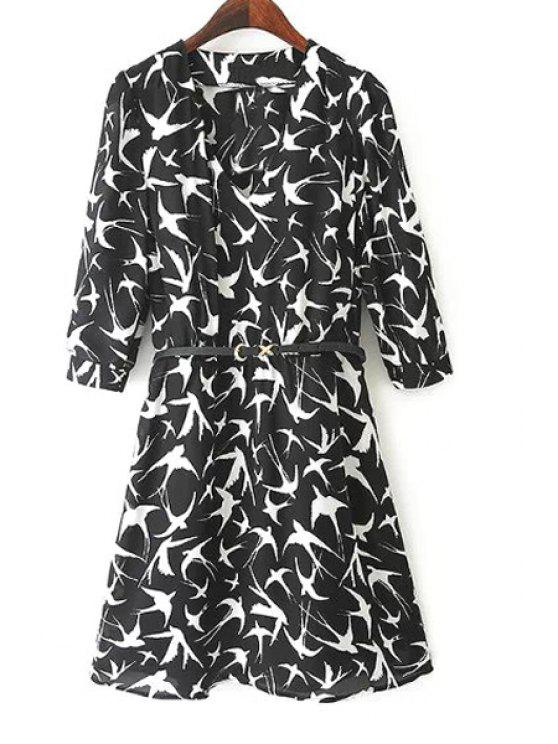 outfits 3/4 Sleeve Bird Print Tunic Dress - BLACK S