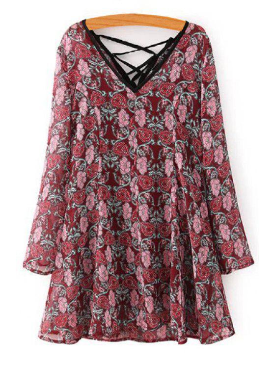 best Long Sleeve Tiny Floral Dress + Spaghetti Strap Tank Top Twinset - WINE RED M