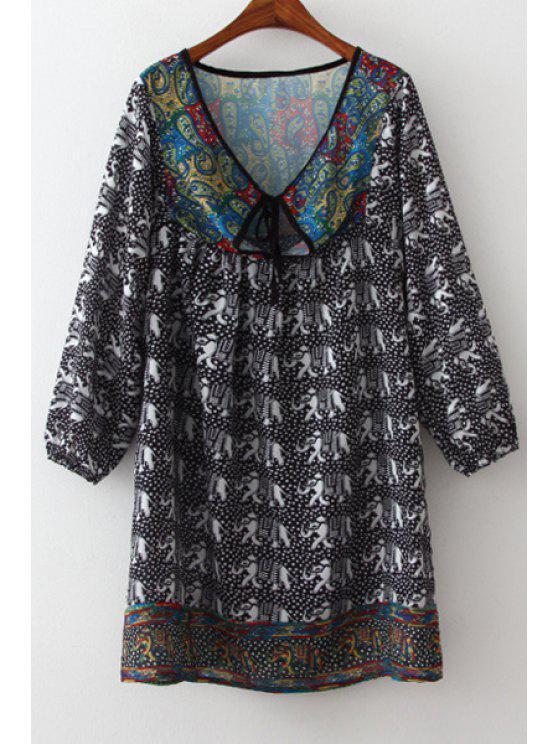 outfits Loose-Fitting Print Chiffon Dress - BEIGE L