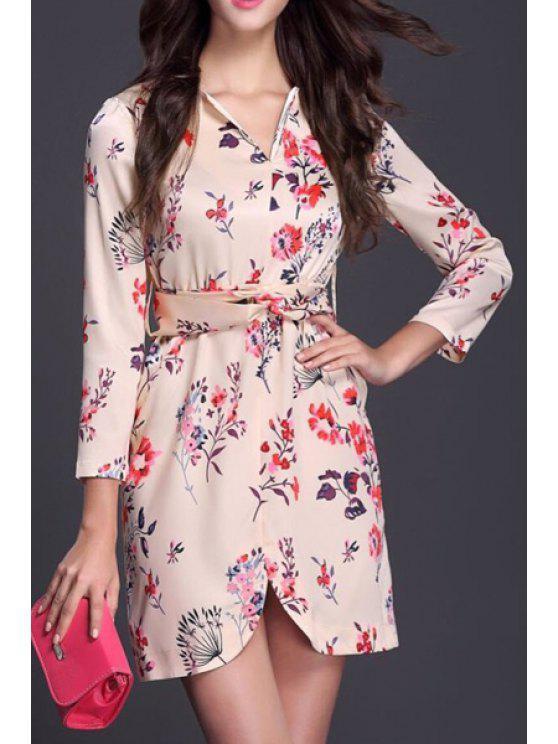 fancy 3/4 Sleeve Floral Chiffon Tunic Dress - BEIGE S