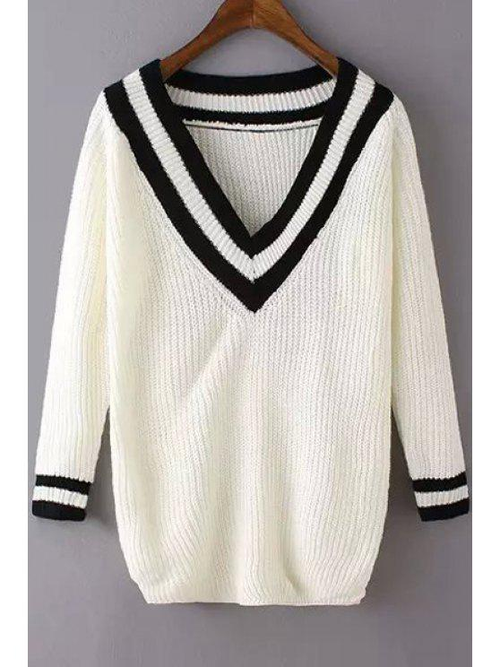 outfit White Black Stripe V Neck Long Sleeve Sweater - WHITE ONE SIZE(FIT SIZE XS TO M)