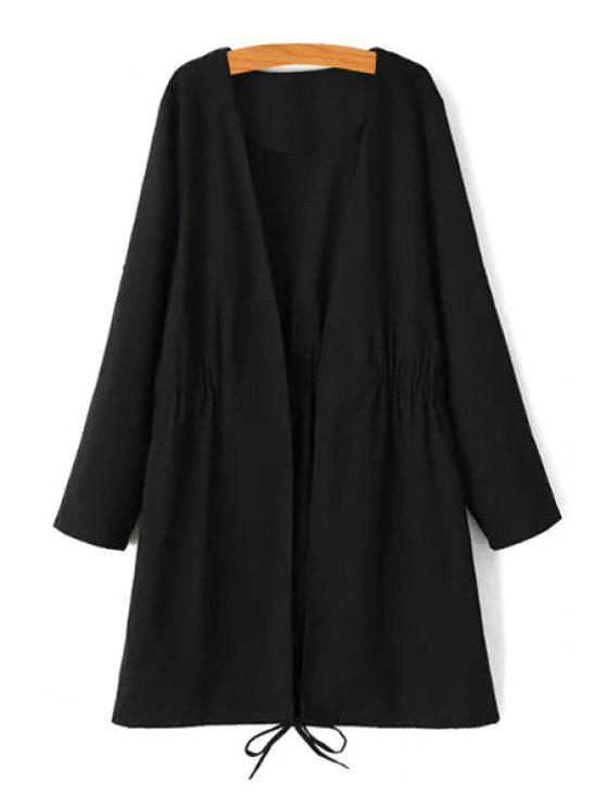 womens Tie-Up Splicing Long Sleeve Trench Coat - BLACK S