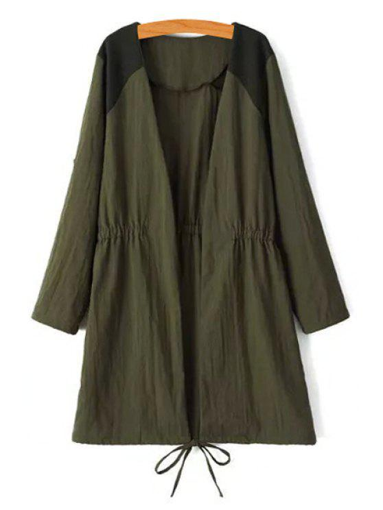 best Tie-Up Splicing Long Sleeve Trench Coat - ARMY GREEN L