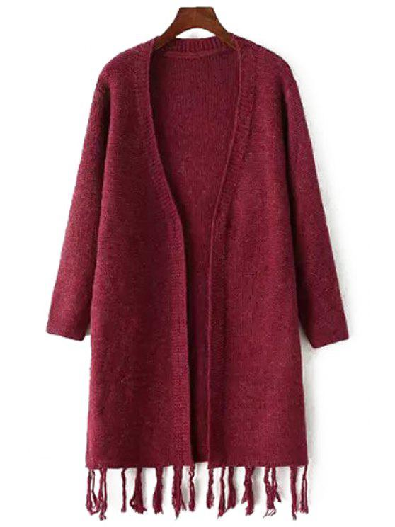 fancy Fringe Splicing Long Sleeve Cardigan - RED ONE SIZE(FIT SIZE XS TO M)