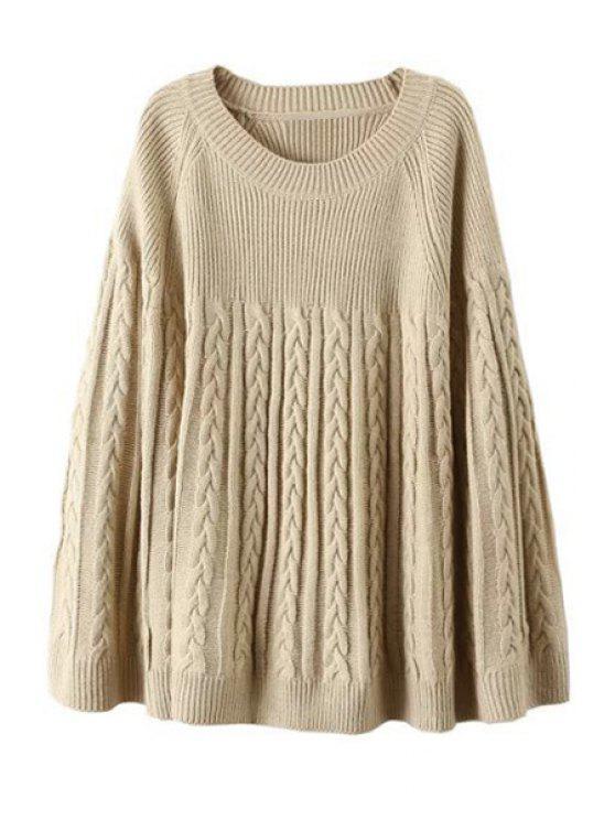 women Plait Pattern Long Sleeve Sweater - KHAKI ONE SIZE(FIT SIZE XS TO M)
