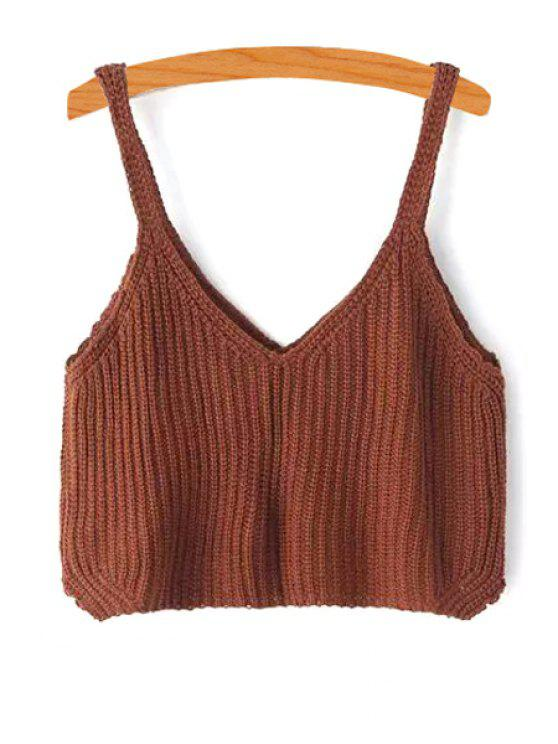 ladies Solid Color Knitted Tank Top - KHAKI ONE SIZE(FIT SIZE XS TO M)