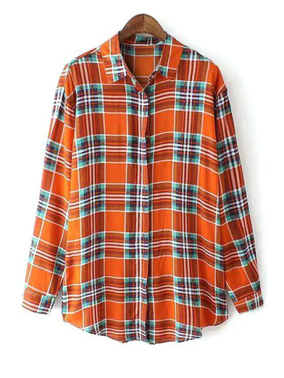 fancy Color Block Checked Long Sleeve Shirt - ORANGE L