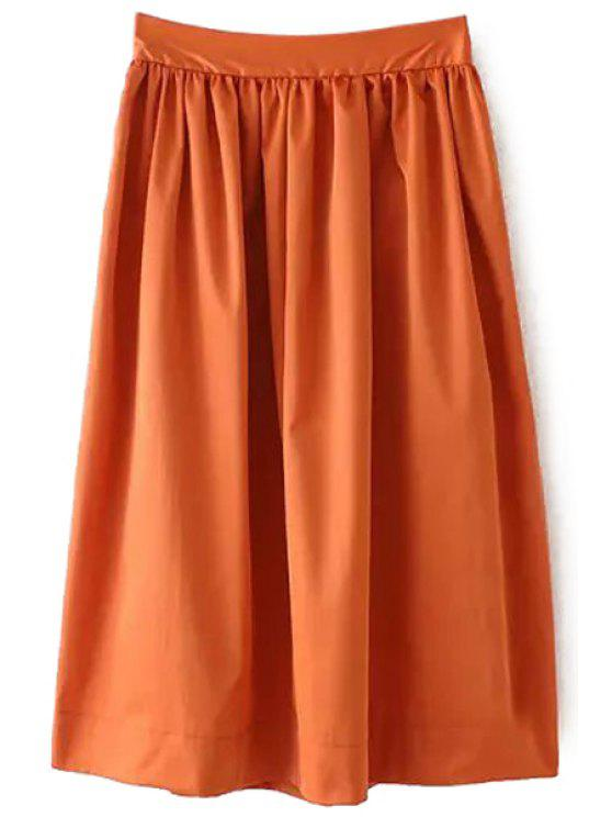 trendy Ruffle Elastic Waist Skirt - BROWN S