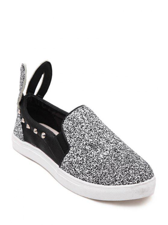 women Sequined Rivets Color Block Flat Shoes - SILVER 35