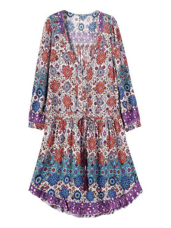 fashion Printed Drawstring DesignTunic Dress - COLORMIX S