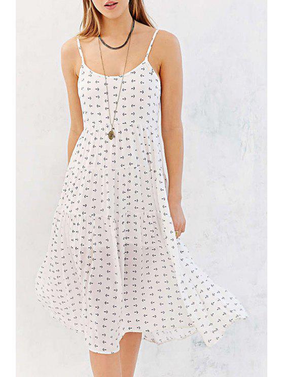 unique Spaghetti Strap Backless Tiny Floral Print Dress - WHITE XL