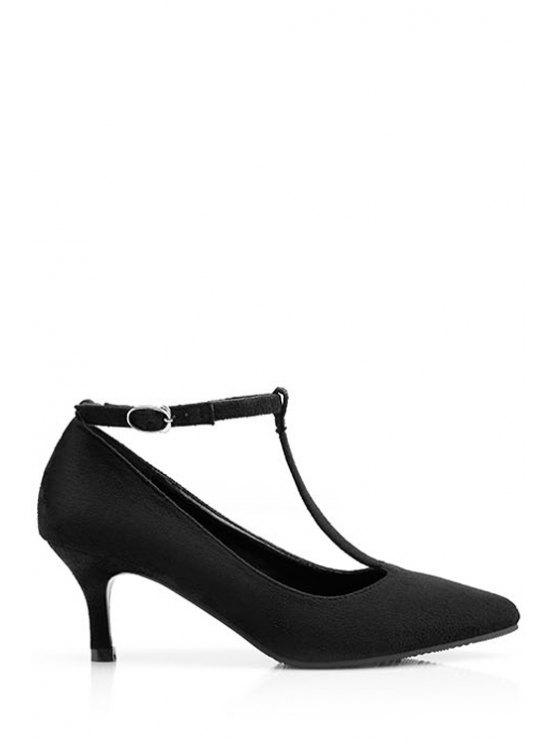 lady T-Strap Suede Solid Color Pumps - BLACK 39