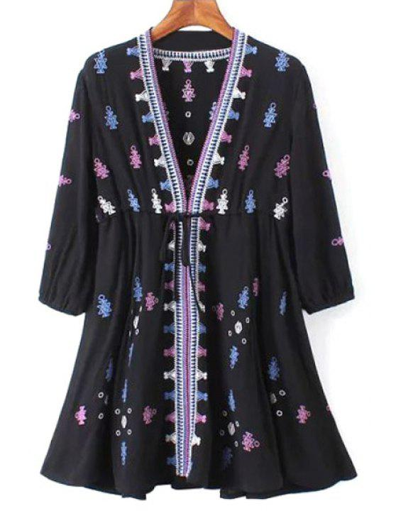 fancy 3/4 Sleeve Embroidered Drawstring Tunic Dress - BLACK L
