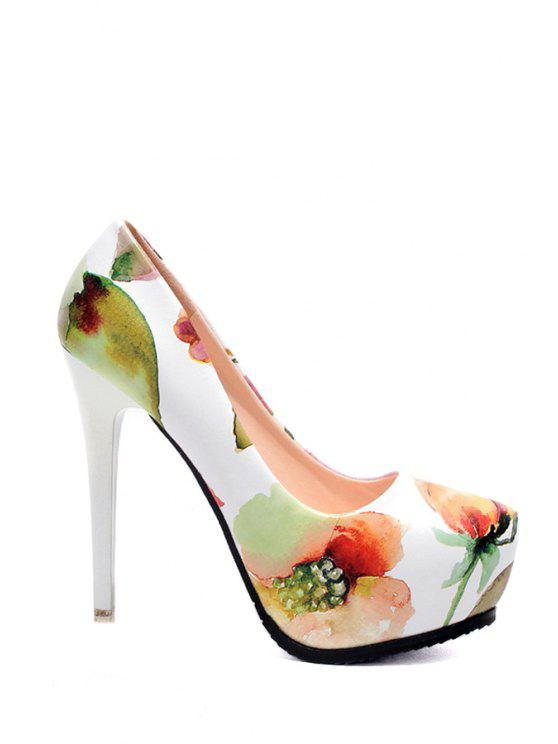 new Floral Print Platform Round Toe Pumps - WHITE 34