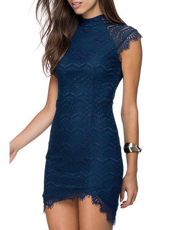 shops Round Neck Asymmetrical Lace Dress - BLUE XL