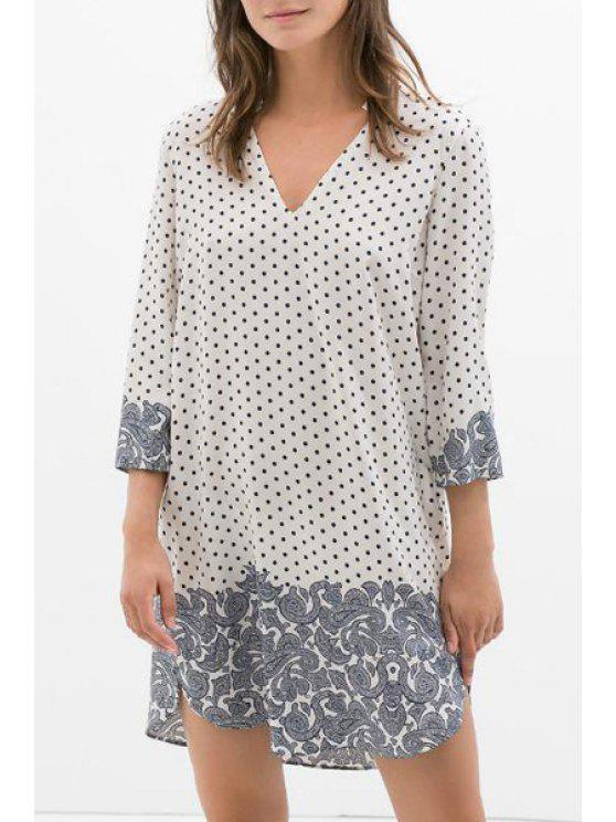 hot 3/4 Sleeve Polka Dot Straight Dress - WHITE S