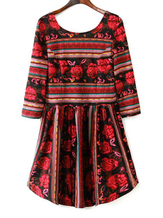 chic Floral Print Stripes Fit and Flare Dress - RED L