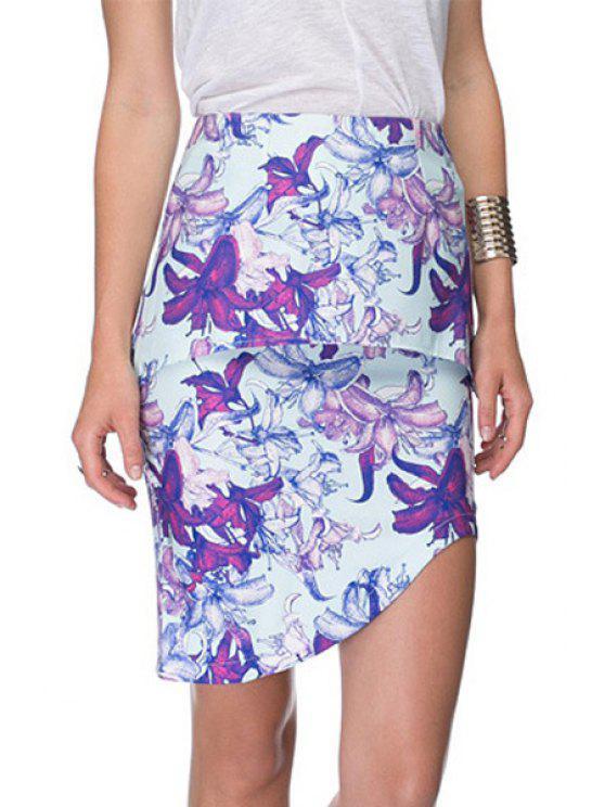 best Multi-Layered Floral Print Skirt - BLUE XS
