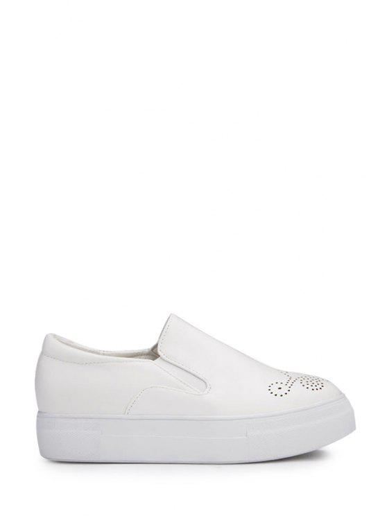 lady Engraving Solid Color Round Toe Platform Shoes - WHITE 35