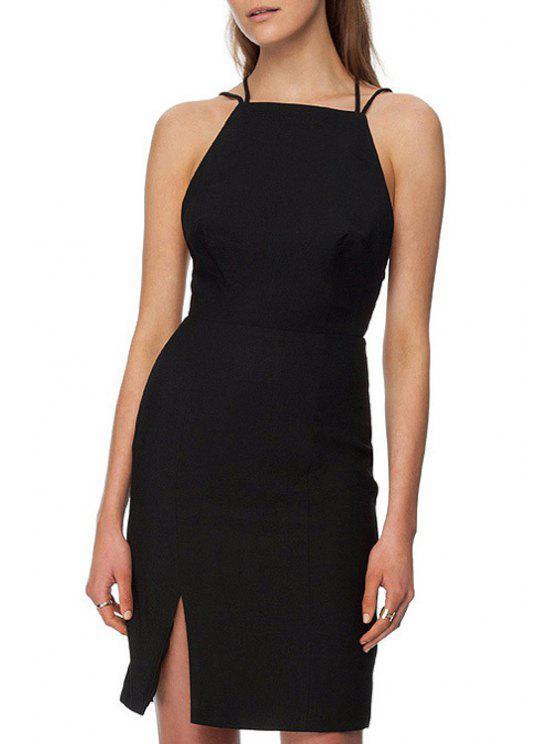 fancy Spaghetti Strap Cross Backless Black Dress - BLACK XS