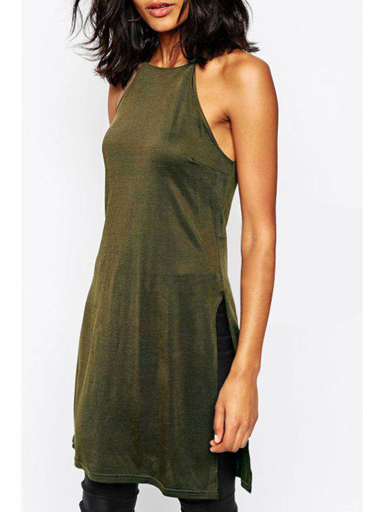 best Solid Color Spaghetti Strap Side Slit Dress - ARMY GREEN S