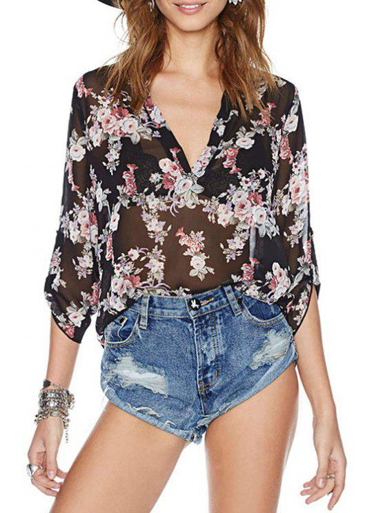 buy See-Through Floral Print 3/4 Sleeve Shirt - BLACK S