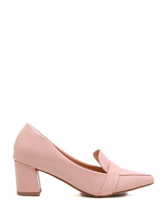 shop Chunky Heel Solid Color Pointed Toe Pumps - PINK 37